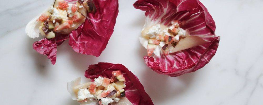 ANTONIA X GALLINEE – RADICCHIO CUPS WITH PEAR, FIG AND GOAT CHEESE