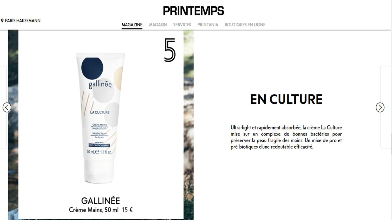 Article Gallinée au Printemps Haussmann