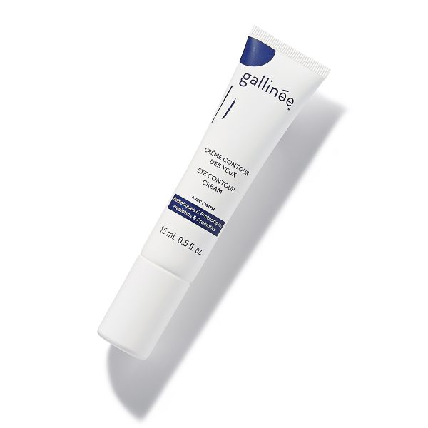 Eye Contour Cream_Gallinée_white_angle on white background and shadows. Product with prebiotics and probiotics.