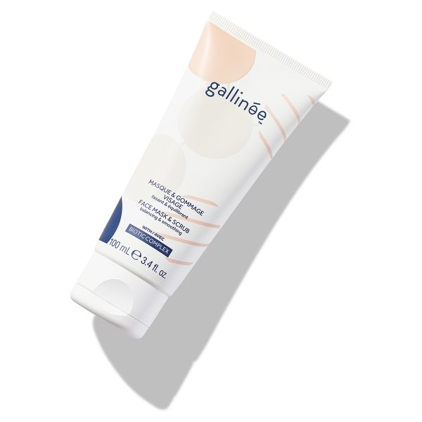 Face mask and scrub_Gallinée_white_angle on white background and shadows. Product with prebiotics and probiotics.