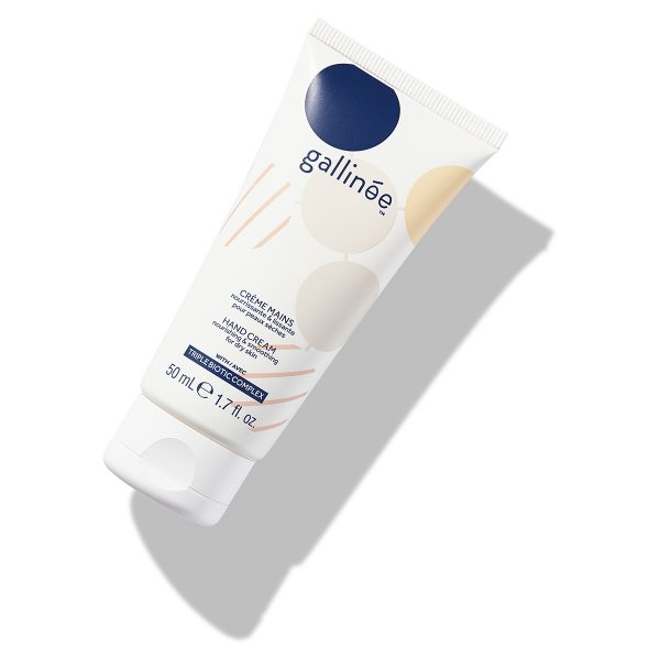Hand Cream_Gallinée_white_angle on white background and shadows. Product with prebiotics and probiotics.